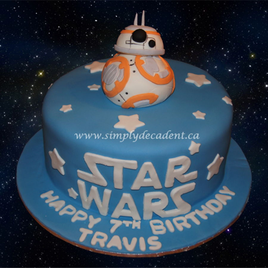 Star Wars Birthday Cake With 3D Fondant Bb8 Robot Droid