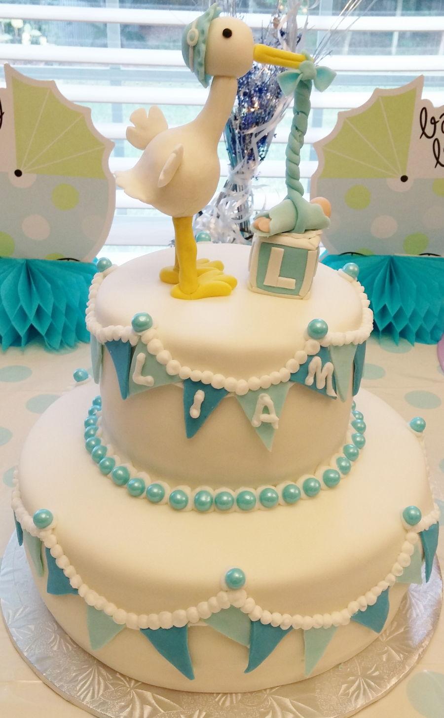 Stork baby shower cake for Baby shower stork decoration