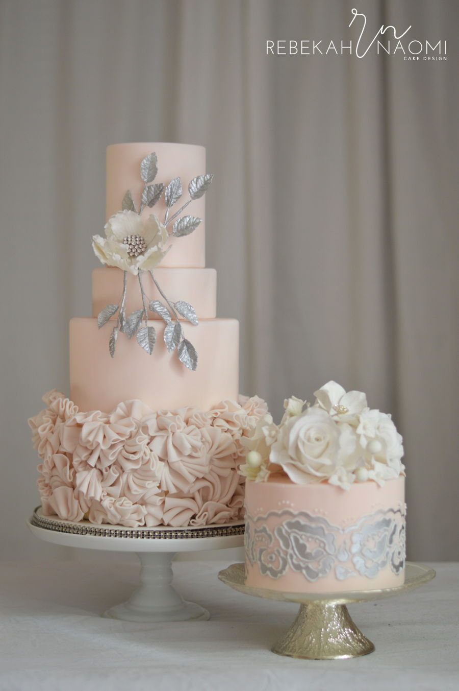 blush pink and silver wedding cake wedding cakecentral 12049
