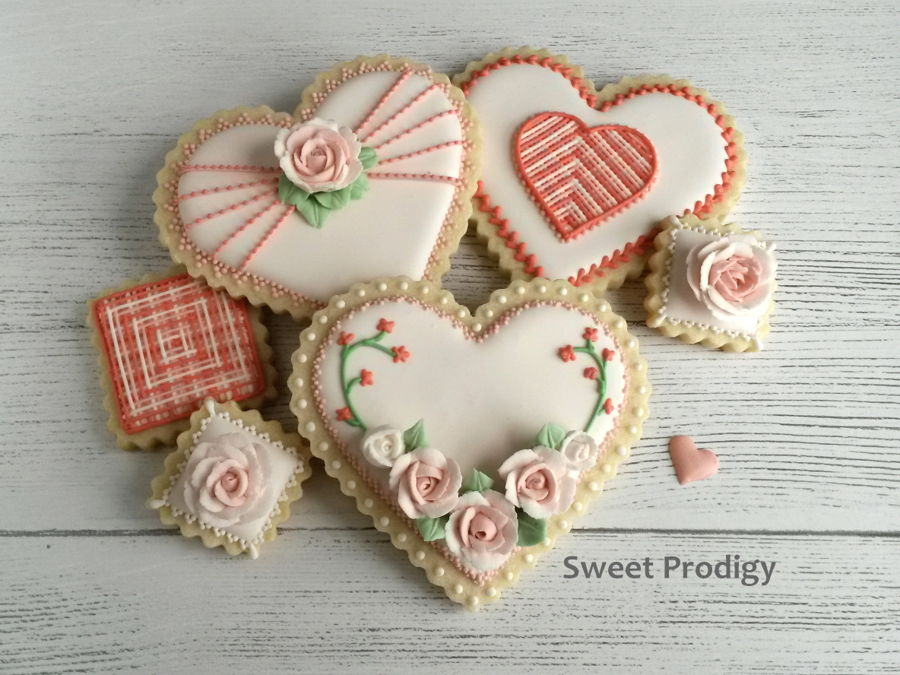 Valentine's Cookies - Hearts And Roses on Cake Central