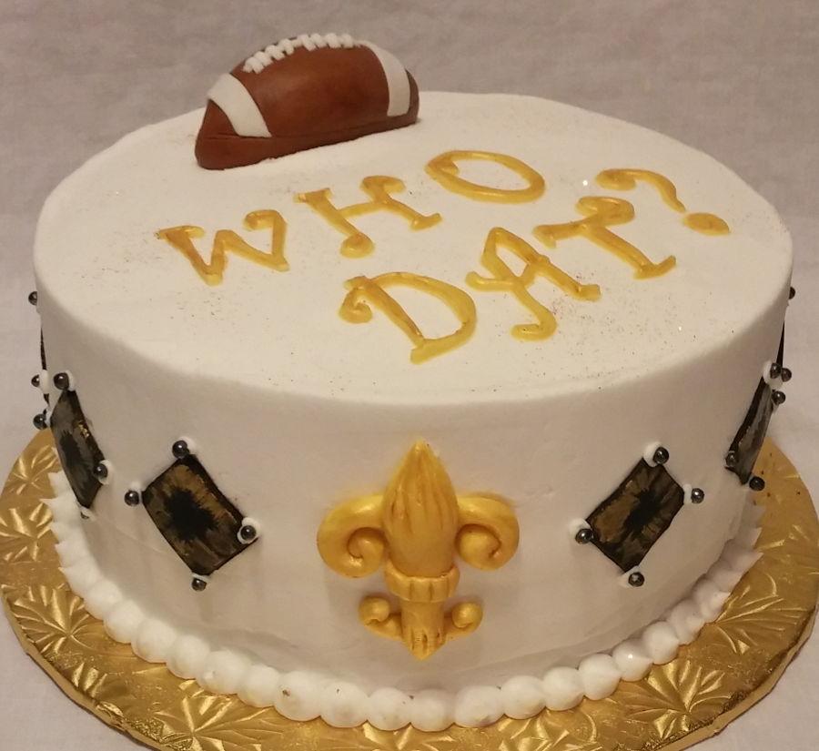 New Orleans Saints Birthday Cake With Fleur De Lis Border Football Cakes Who Dat
