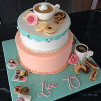 70Th Birthday   Coffee, cookies and chocolate themed cake for Lise...