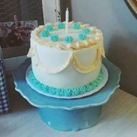 Antique Inspired 1St Birthday Cake All buttercream cake, antique ivory with teal piping, 6 inch round
