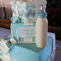 Baby Shower Cake hand sculpted figures and solid chocolate bottle. Vanilla cake with white chocolate ganache & mulch de leche fillings