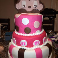 Baby Shower Girl Monkey Cake Cake made for a baby shower with monkey theme. all fondant accents. monkey girl is a mix of fondant and gum paste. i put it on some...