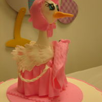 Baby Shower - Stork Fondant. Chocolate Fudge Cake. Cherry (Maraschino) Frosting. Hand made Grandma stork with infant.