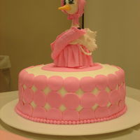 Baby Shower Stork Cake Fondant. Chocolate Fudge Cake. Cherry (Maraschino) Frosting. Hand made Grandma stork with infant.