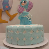 Baby Shower Stork Cake Fondant. French Vanilla cake with Dulce De Leche frosting (I used caramel condensed milk).
