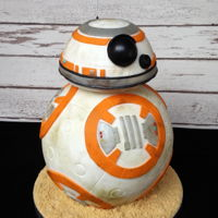 "Bb-8 Cake - Star Wars! An 8"" sponge ball cake with buttercream, white chocolate ganache, and fondant icing decorated to look like BB-8 from Star Wars: The..."