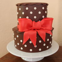 Big Red Bow Birthday present for a friendCovered in chocolate fondant.