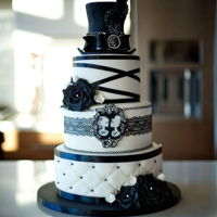 Black And White Wedding Cake Black and white wedding cake with hat and skull