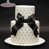 "Black Bow Simple mini cake - 4"" & 6"" with silver pearls and a fondant bow."