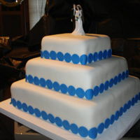 Blue And White Wedding   Square tiered wedding cake