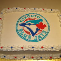 Blue Jays Cake For a little boy who LOVES baseball and the Jays. Logo made by a buttercream transfer.