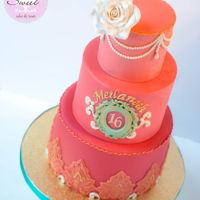 Cambodian Themed Sweet 16 Cake  4-6-8 inch ombre orange to coral cake tiers in ivory, teal and gold to match a Cambodian/Asian themed Sweet 16. I made a silicone mold for...