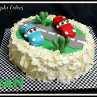 Cars Cake   White chocolate cake decorated with fondant