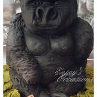 Carved,sculpted Gorilla Cake 30cm high, hand carved, airbrushed, chocolate fudge cake Gorilla.
