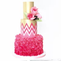 Chevron This is one of my favorite wedding cakes. Ruffles, chevron and gold!
