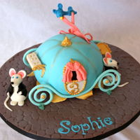 "Cinderella's Carriage 6"" chocolate cake with fondant and gumpaste accents."