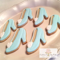 Cinderella's Glass Slipper Cookies Sugar cookies decorated with royal icing. Did not have a cutter so I created my own template