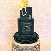 Denim And Diamonds Cake Denim and Diamonds theme display cake made for local PTO Gala event.