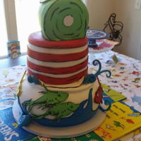 Dr.seuss 1St Birthday Cake 3 tier Dr. Seuss 1st Birthday Cake Bottom tier, One Fish Two Fish Red Fish Blue Fish. Middle tier, Cat in the Hat's Hat. Top tier,...