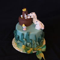 Easter Bunnies Chocolate cake with fondant accents