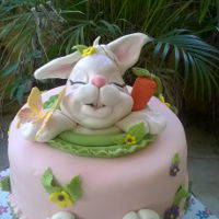 Easter Bunny Cake Sculpted bunny figure completes this cute cake