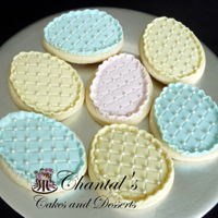 Easter Egg Cookies Easter egg sugar cookies with a layer of buttercream, impression mat diamond design, crimped ruffle edge, pearls