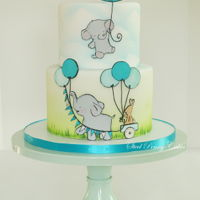 Elephant Baby Shower Hand cut and painted characters inspired by Kit Chase and an airbrushed cloud background.
