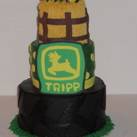 Farmer Boy Is 2 Three tier farm cake with a John Deere Theme.