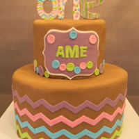 First Birthday Celebration Fondant Covered 2 tier cake with gum paste decorations