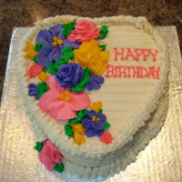 Flowers And Heart Cake Napoleon cake for mom's birthday