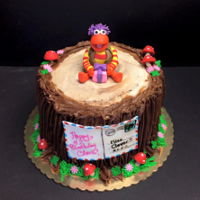 Fraggle Rock Cake   Featuring Gobo (the little girl's favorite Fraggle and a postcard from Uncle Matt.