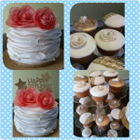 Frilled Cake filled with ganache, covered in buttercream and fondant with wafer paper roses. cupcakes also filled with ganache, cover in buttercream and...