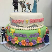 Frozen Frozen themed cake, with toy decorations