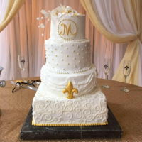 Gold And White Fleur De Lis Wedding Cake   First time I've ever made sugar calla lilies as well.