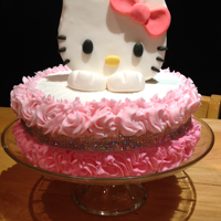 Hello Kitty Cake WHITE CAKE WITH BUTTERCREAM AND FONDANT DECORATIONS