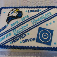 High School Wrestling Cake Cake for Senior Wrestlers Recognition Night at a local high school.All decorations done in fondant.