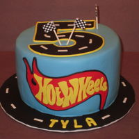 Hot Wheels Fondant Covered Cake with fondant decoration.