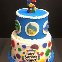 Inside Out Themed Cake   The mom wanted lots of polka dots and the characters to be featured