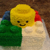 Lego Cake Buttercream piped. The dots on the Lego are marshmallows.