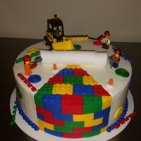 Lego Cake The cake may have looked better in all fondant but the customer wanted mostly buttercream.