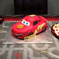 Lightning Mcqueen Sculpted Cake   My first fully fondanted sculpted cake!