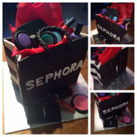 Make Up Cake 18 th birthday cake.Birthday girl loves to shop at Sephora
