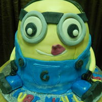 Minion Cake chocolate cake covered with fondant