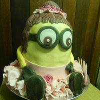 Minion Girl Cake chocolate cake covered in fondant