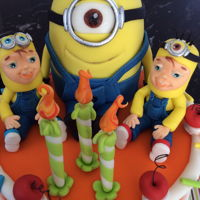 Minions Birthday Cake For Twins   Minions themed birthday cake for twins. Everything handmade and edible
