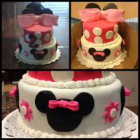Minnie Mouse Cake Minnie Mouse Cake for a 2 year old party. All fondant except bow was combination of fondant and gumpaste.