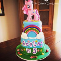 My Little Pony Cute fondant My Little Pony cake! We enjoyed making this for a new client. The actual cake layers were rainbow, too. One of our faves!